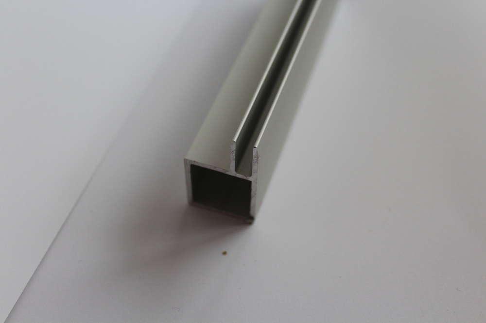 Aluminium Vierkant Rohr 20x20x15mm Eloxiert Mit Einschubleiste